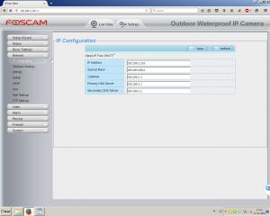Foscamin asetus sivut. / Foscam settings page.